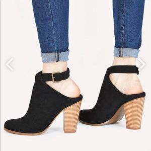 {JustFab} Black Gigi Open Ankle Booties